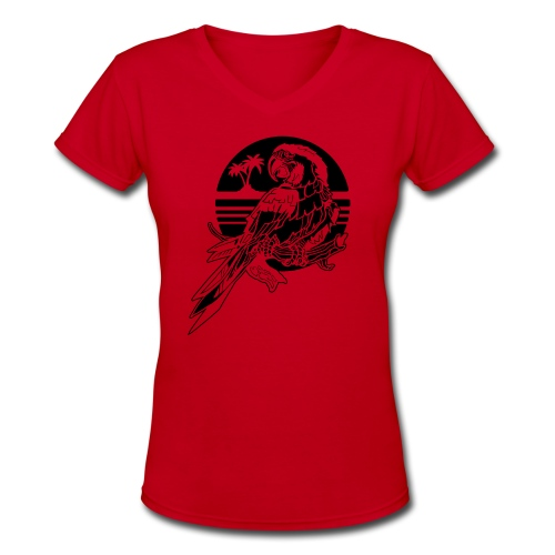 Tropical Parrot - Women's V-Neck T-Shirt