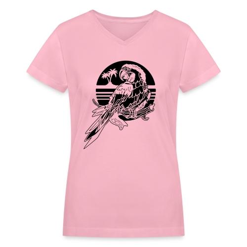 Tropical Parrot - Women's V-Neck T-Shirt