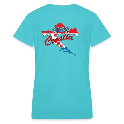 Croatia Football Team Colours T-Shirt Treasure Des - Women's V-Neck T-Shirt