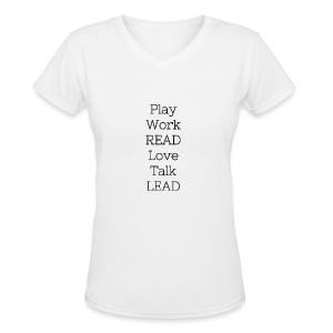 Play_Work_Read - Women's V-Neck T-Shirt