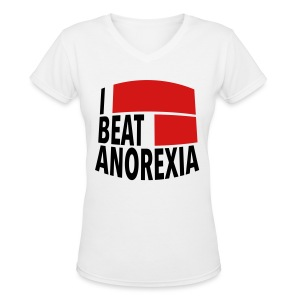 I Beat Anorexia - Women's V-Neck T-Shirt