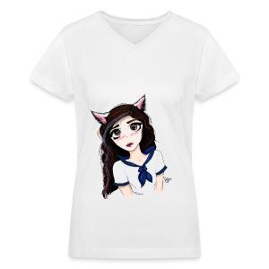 Catgirl - Women's V-Neck T-Shirt