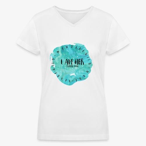 I AM HER - Women's V-Neck T-Shirt