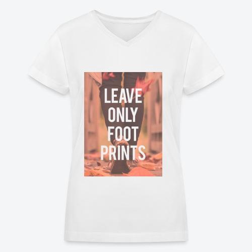 Footprints - Women's V-Neck T-Shirt