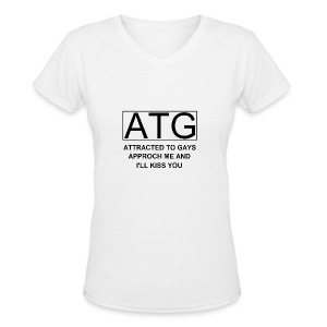 ATG Attracted to gays - Women's V-Neck T-Shirt