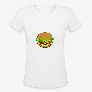 Comic Burger - Women's V-Neck T-Shirt