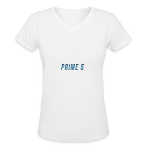 Prime 5 Text Logo - Women's V-Neck T-Shirt