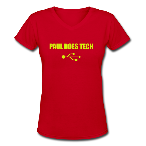 Paul Does Tech Yellow Logo With USB (MERCH) - Women's V-Neck T-Shirt