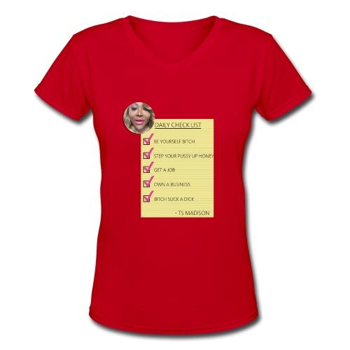 ts Madison Checklist - Women's V-Neck T-Shirt