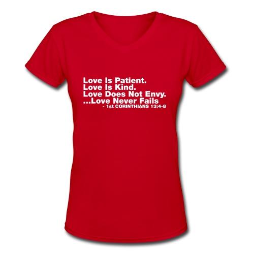 Love Bible Verse - Women's V-Neck T-Shirt