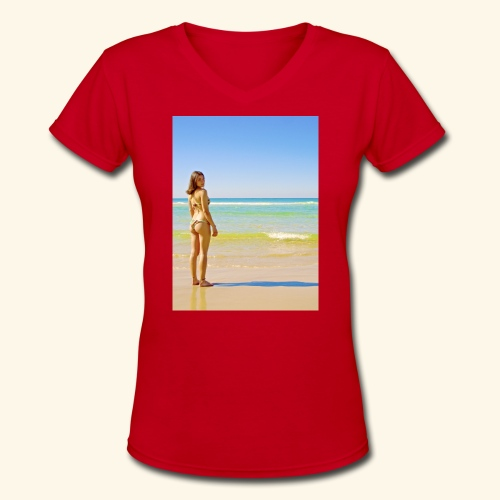 model - Women's V-Neck T-Shirt