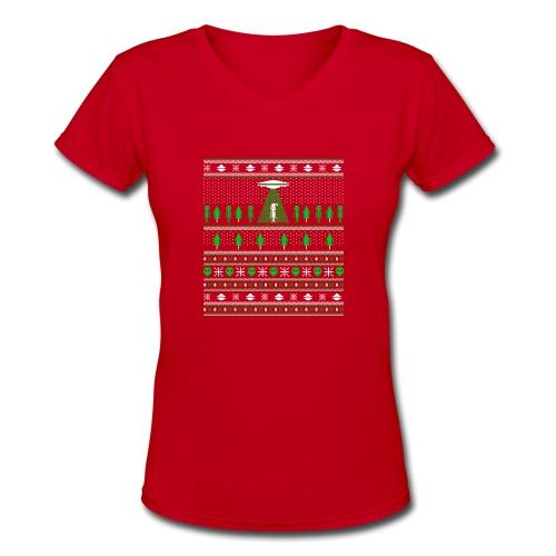 UFO ALIEN UGLY Christmas - Women's V-Neck T-Shirt