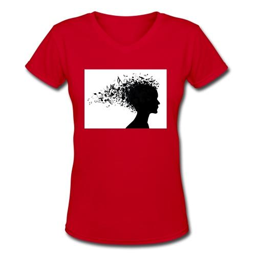 music through my head - Women's V-Neck T-Shirt