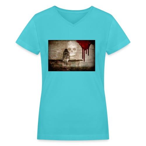 sad girl - Women's V-Neck T-Shirt