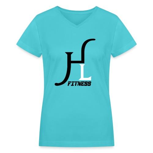 HIIT Life Fitness logo white - Women's V-Neck T-Shirt