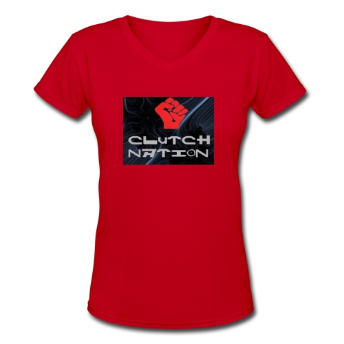 clutchnation logo merch - Women's V-Neck T-Shirt