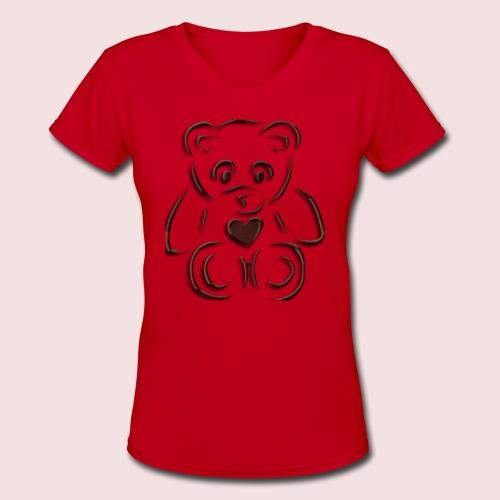 realistic teddy - Women's V-Neck T-Shirt