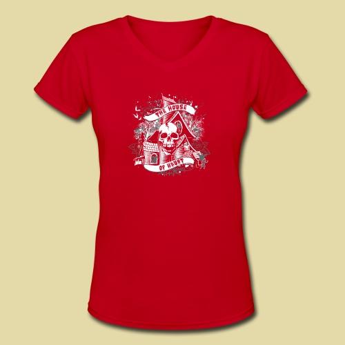 hoh_tshirt_skullhouse - Women's V-Neck T-Shirt