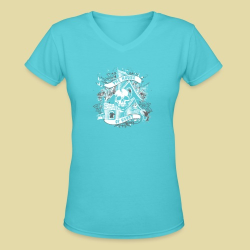 hoh_tshirt_skullhouse - Women's V-Neck T-Shirt