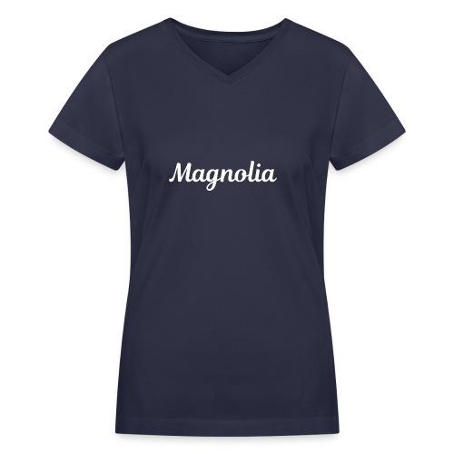 Magnolia Abstract Design. - Women's V-Neck T-Shirt