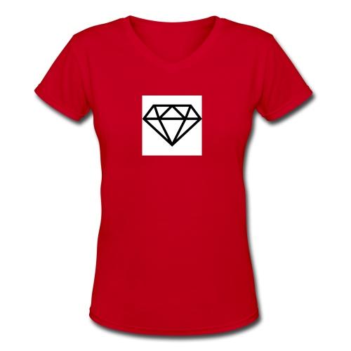 diamond outline 318 36534 - Women's V-Neck T-Shirt