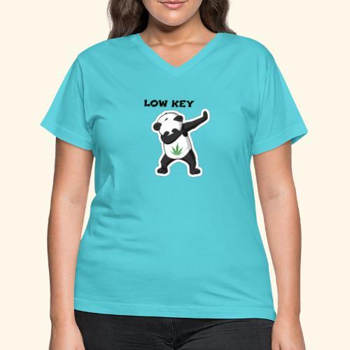 LOW KEY DAB BEAR - Women's V-Neck T-Shirt