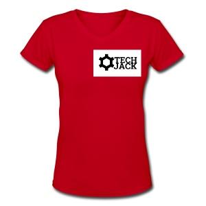 TECH JACK LOGO - Women's V-Neck T-Shirt