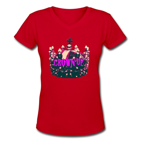 Crown Up T Shirt Female 2 - Women's V-Neck T-Shirt