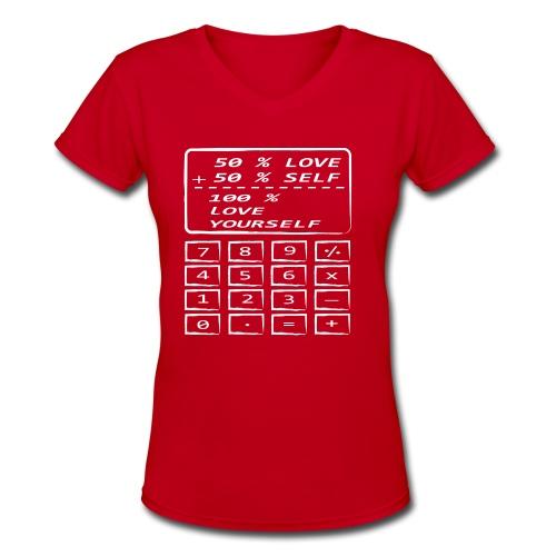 SELF Love Calculator Outline White - Women's V-Neck T-Shirt