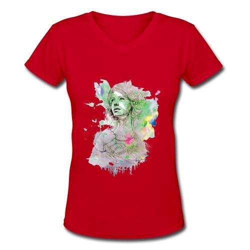 women in multicolor - Women's V-Neck T-Shirt