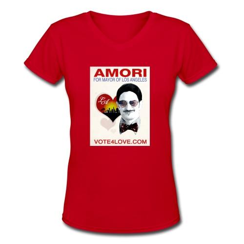 Amori for Mayor of Los Angeles eco friendly shirt - Women's V-Neck T-Shirt