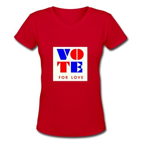 vote4love-sample - Women's V-Neck T-Shirt