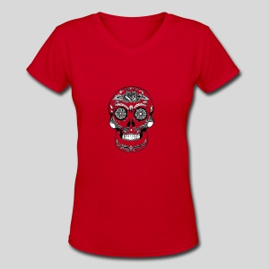 Catrina Black & White - Women's V-Neck T-Shirt