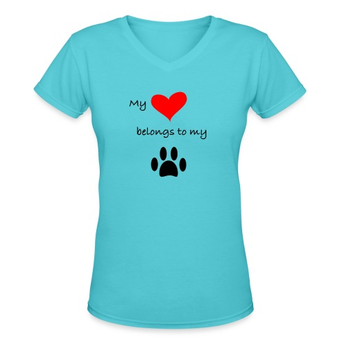 Dog Lovers shirt - My Heart Belongs to my Dog - Women's V-Neck T-Shirt