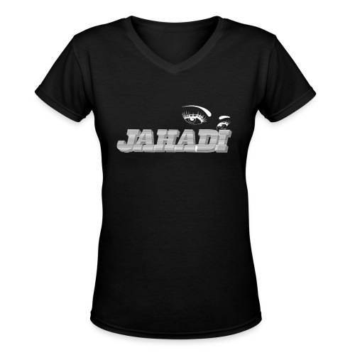 hadilogoWHITE - Women's V-Neck T-Shirt