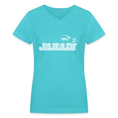 hadilogoWHITE - Women's V-Neck T-Shirt