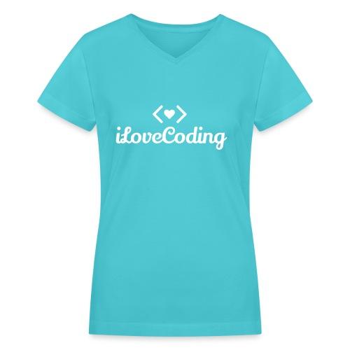 I Love Coding - Women's V-Neck T-Shirt
