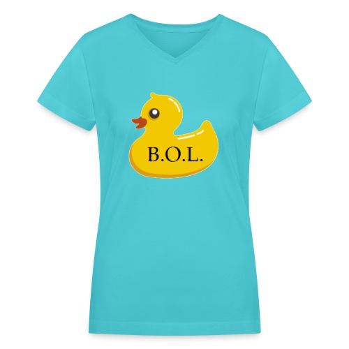 Official B.O.L. Ducky Duck Logo - Women's V-Neck T-Shirt