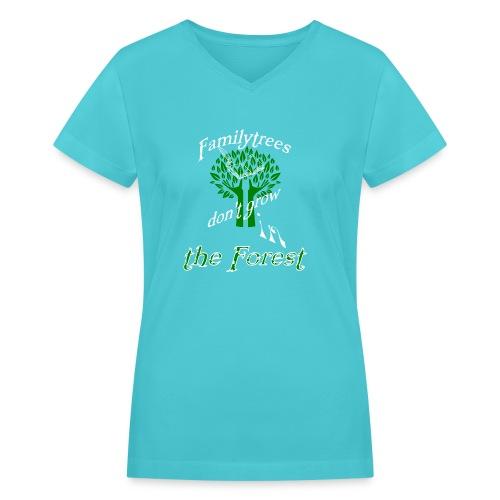 genealogy family tree forest funny birthday gift - Women's V-Neck T-Shirt