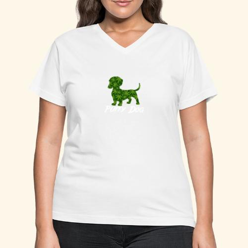 PUFFY DOG - PRESENT FOR SMOKING DOGLOVER - Women's V-Neck T-Shirt