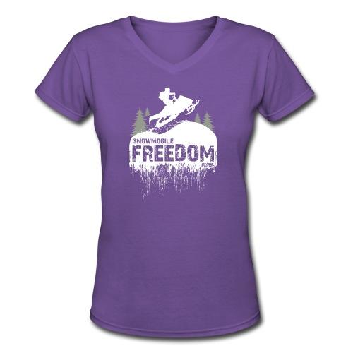 Snowmobile Freedom - Women's V-Neck T-Shirt