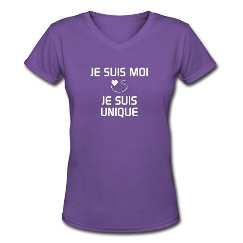 JeSuisMoiJeSuisUnique - Women's V-Neck T-Shirt