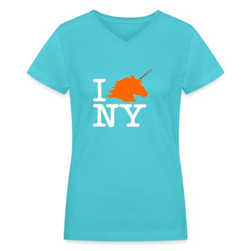 I Unicorn New York (Kristaps Porzingis) - Women's V-Neck T-Shirt