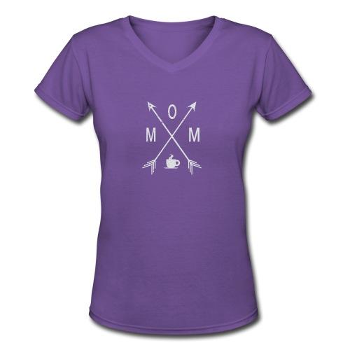 Mom Loves Coffee - Women's V-Neck T-Shirt