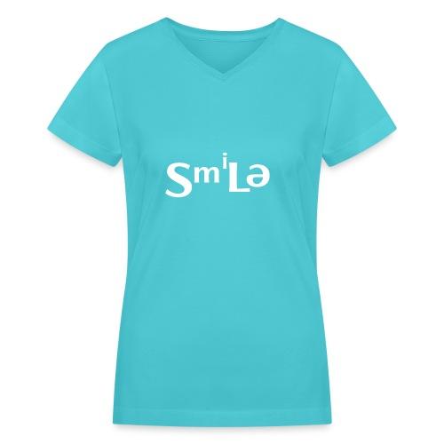 Smile Abstract Design - Women's V-Neck T-Shirt