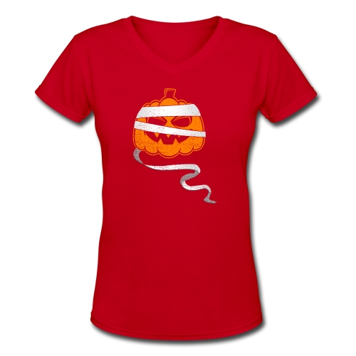 Halloween Bandaged Pumpkin - Women's V-Neck T-Shirt