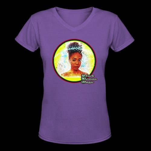 Black Woman Magic - Women's V-Neck T-Shirt