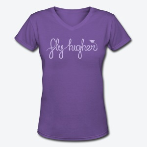 Fly Higher - Light Purple - Women's V-Neck T-Shirt