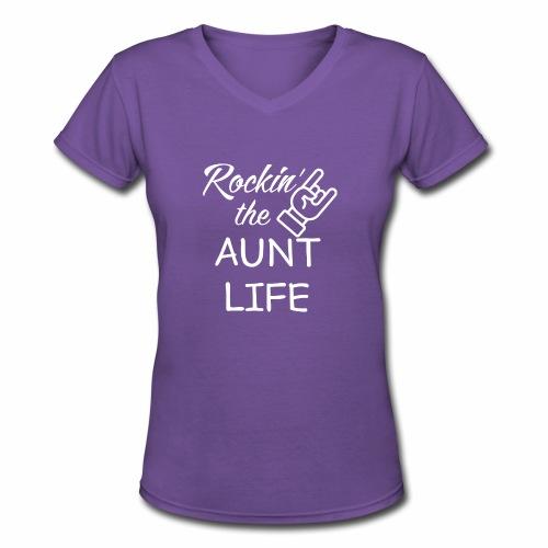 RockinAunt White - Women's V-Neck T-Shirt