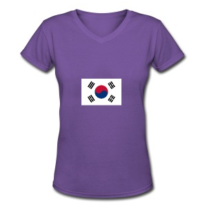 Flag of South Korea - Women's V-Neck T-Shirt